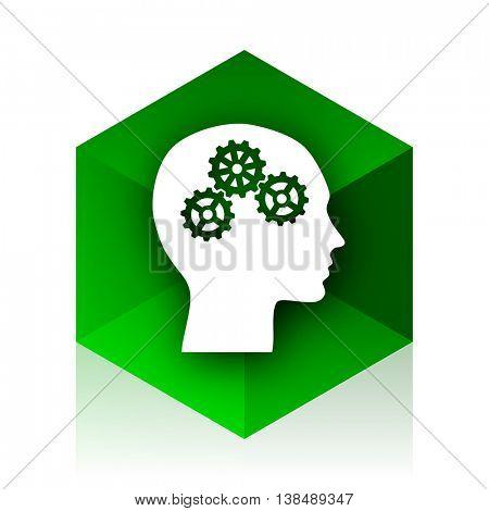 head cube icon, green modern design web element
