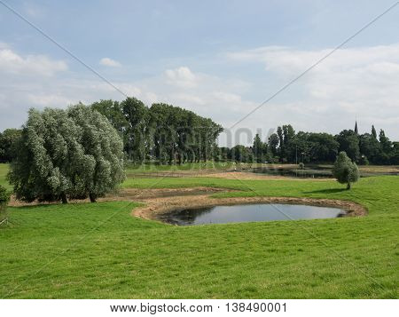 the river rhine neasr wesel in germany