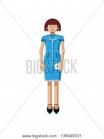 Stock vector illustration isolated of European middle-aged woman, brown hair, blue dress, touche screen, woman with smartphone in hand, woman listen music from phone flat style, white background