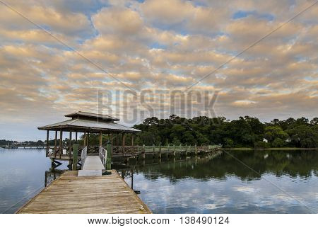 dock and sunset in coastal South Carolina
