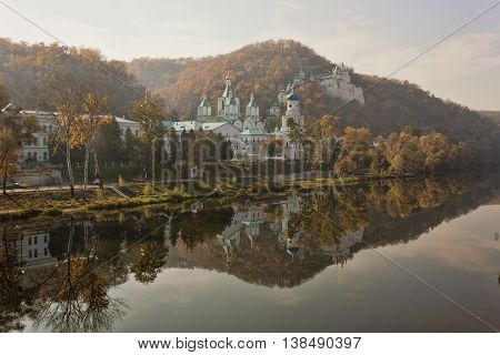 Siversky Donets River autumn. On the opposite bank the Sviatohirsk Lavra
