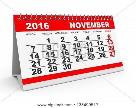 Calendar November 2016.
