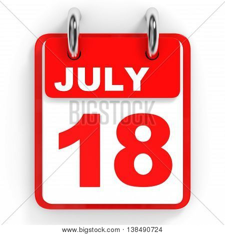 Calendar On White Background. 18 July.