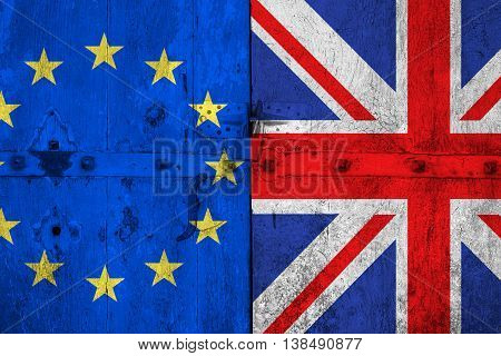 Brexit Blue European Union Eu Flag And Half Great Britain Flag On Old Wood Door