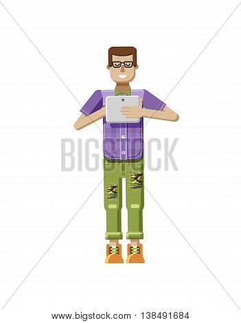 Stock vector illustration isolated of European man in purple checkered shirt, pants, patches, in glasses, man with laptop in hand, man looking into screen of eBook, flat style on white background