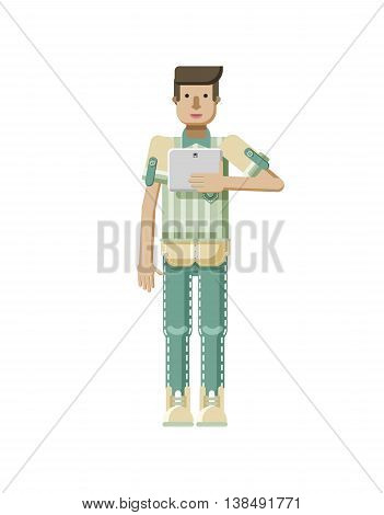 Stock vector illustration isolated of European man with light brown hair, man with laptop in hand, man looking into screen of eBook, striped shirt in flat style on white background