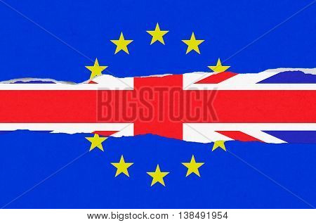 Brexit Blue European Union Eu Flag And Uk England Great Britain Flag On Ripped Torn Paper