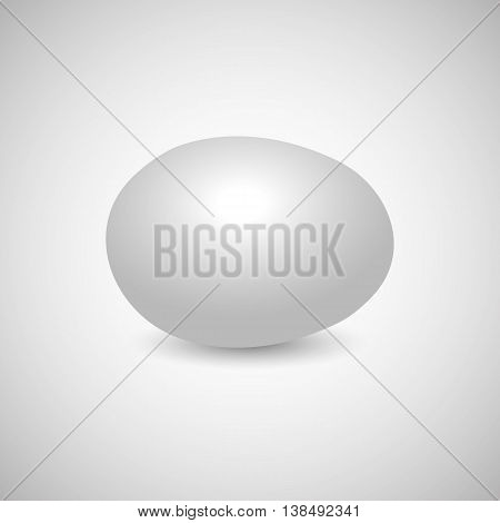 Icon white egg isolated on a gray background horizontally disposed with shadow vector illustration.