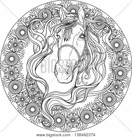 Portrait of a horse in frame of floral elements. Coloring page.