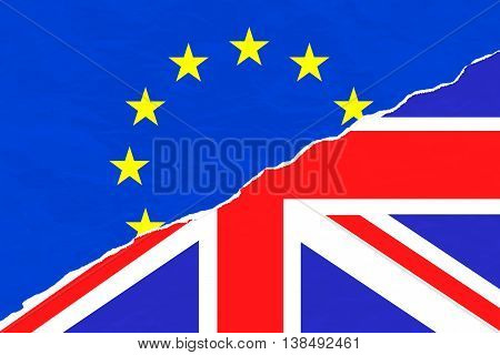 Brexit Half Blue European Union Eu Flag And Half Uk England Great Britain Flag On Ripped Torn Paper