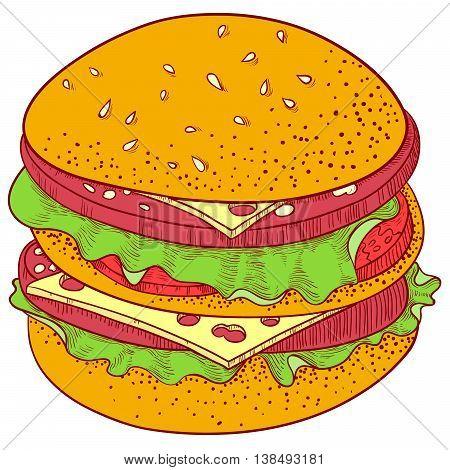 Vector fast food illustration. Doodle hand-drawn line art Cheeseburger