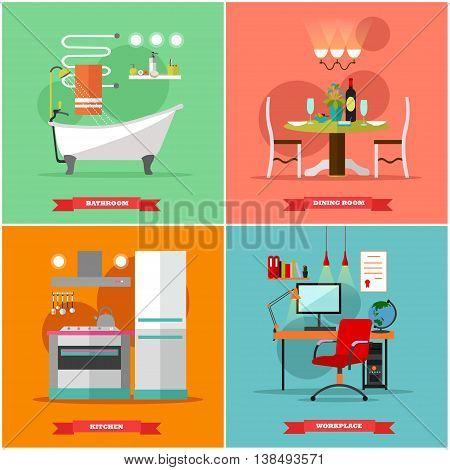 Home interior vector illustration in flat style. House design with furniture, kitchen, bathroom, dining room, workplace, cabinet. Design elements and icons.