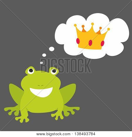 Prince or princess frog dreaming about crown. Vector illustration isolated on black background