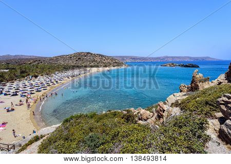 Aerial view on beautiful Vai palm beach at eastern part of Crete island