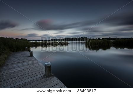 Low Key Night Lake In Long Exposure