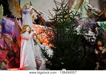 Very Large Christmas Nativity Crib. Trumpeting Angels