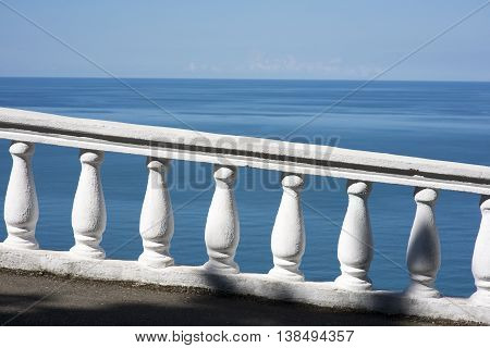 Summer sea view with classic white balustrade in Georgia