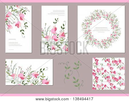 Floral spring templates with sweet peas. Decorative elements  and round frame. For romantic and summer design, announcements, greeting cards, posters, advertisement.