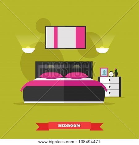 Bedroom interior in flat style. Vector illustration with furniture, bed, table, painting, lamp. Design elements and icons.