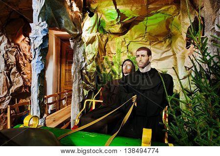 Very Large Christmas Nativity Crib. Monk