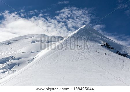 Alpinists climbing the highest mountain in Europe Mont Blanc in Alps France