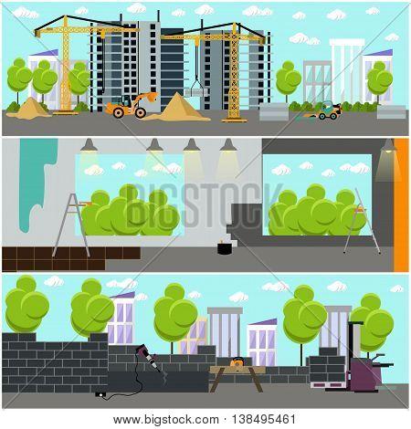 Construction site concept vector banner. Building under construction, construction machines, crane. Under construction.