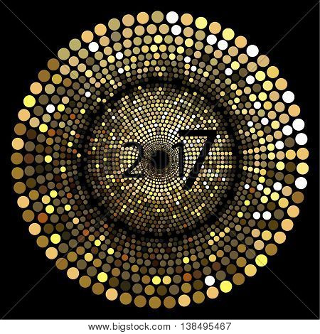 Happy New Year . The depicted circles of different colors mimicking the effect of the glitter. Can be used as cover for greeting cards or as invitations.