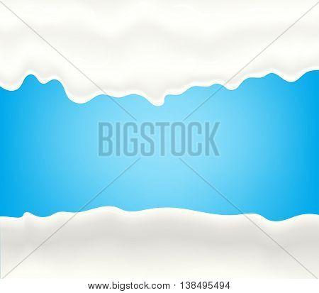 Milk, yogurt, cream or juice splashing. White smudges splashes drops on blue background. Vector illustration
