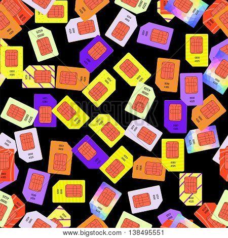 SIM Cards Seamless Pattern on Black Background.