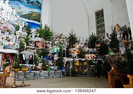 Very large christmas nativity crib at church