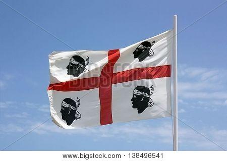 The flag of Sardinia - La bandiera sarda -The Flag of the four Moors - i quattro mori.