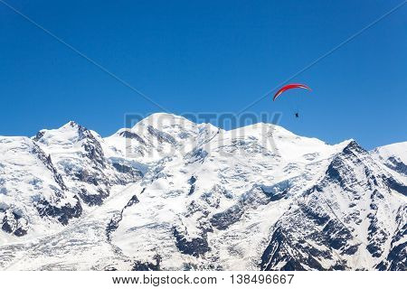 Paragliding over Mont Blanc, Chamonix, France. The mountain is the highest in the Alps and the European Union.