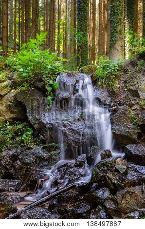 Waterfall on the stones in Vosges mountains, Alsace France