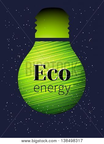 Vector lamp on dark blue background. Eco energy. Vector illustration for the cover, or books. Eco-friendly energy. The conservation of energy.