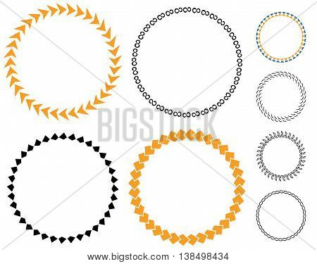 Circle template badge. Round empty medal arrows. layout sticker. Color vector empty sticker