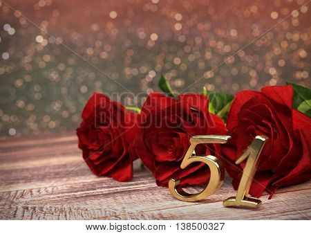 birthday concept with red roses on wooden desk. 3D render - fifty-first birthday. 51st