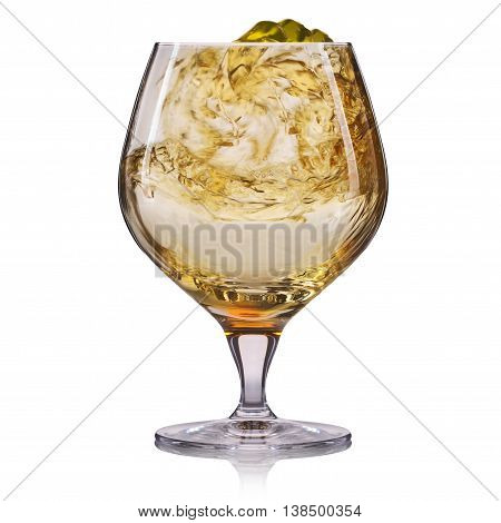 Glass of cognac isolated on white background.