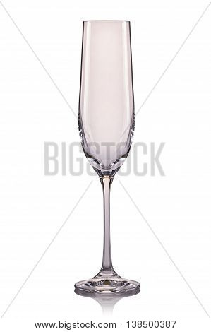 Empty champagne glass isolated on a white background.