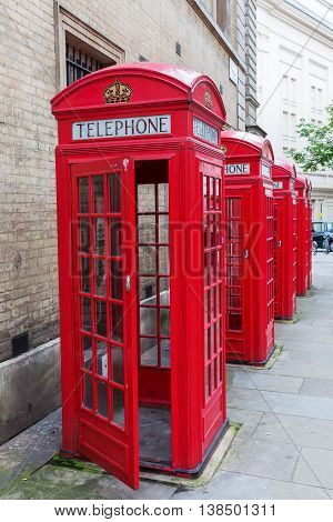 Traditional Red Phone Boxes In London