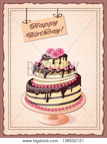 Festive colorful birthday card on the craft paper with cake tier roses on the vintage background. eps10.