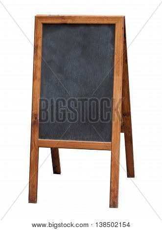 Empty restaurant menu street black chalkboard isolated on white background