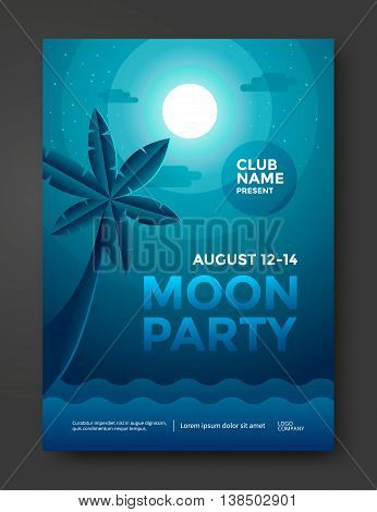 Moon beach party poster design. Moonlight night and palm. Party flyer template. Vector