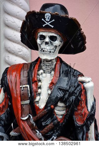 MYRTLE BEACH SOUTH CAROLINA JUNE 29 2016: Pirate skeleton statue in front Myrtle Beach store Broadway at the Beach, home to some of the most popular attractions in Myrtle Beach.
