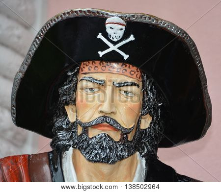 MYRTLE BEACH SOUTH CAROLINA JUNE 29 2016: Pirate statue in front Myrtle Beach store Broadway at the Beach, home to some of the most popular attractions in Myrtle Beach.