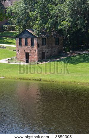 CHARLESTON SC USA 06 23 2016: Springhouse and chapel at Middleton Place is a plantation in Dorchester County, directly across the Ashley River from North Charleston in the U.S. state of South Carolina.