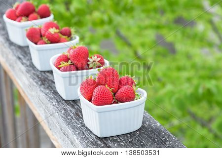 Fresh picked strawberries in white heart shaped bowls on a wood railing