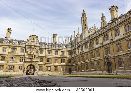 Cambridge England - July 7 2016: Architecture view of Clare College ancient buildings in Cambridge England.