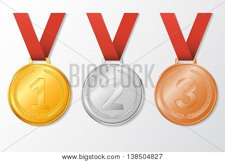 vector illustration. Set award medals with ribbons - gold silver bronze. The first second third place.