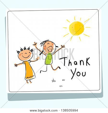 Kids thank you card vector illustration. Sketch, scribble style doodle.