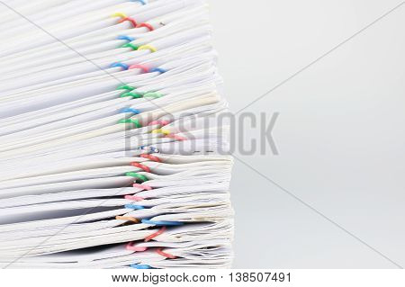 Pile Overload Document Place On White Background